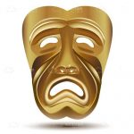 Tragedy Theater Drama Mask in Gold